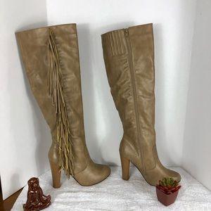 Chase + Chloe Shoes - CHASE & CHLOE KNEE HIGH FRINGE HEELED BOOT SZ 6.5